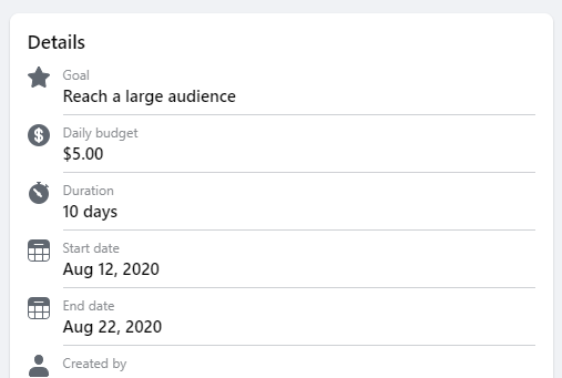 The success of your ad is measured differently based on the goal of the type of post you boosted.